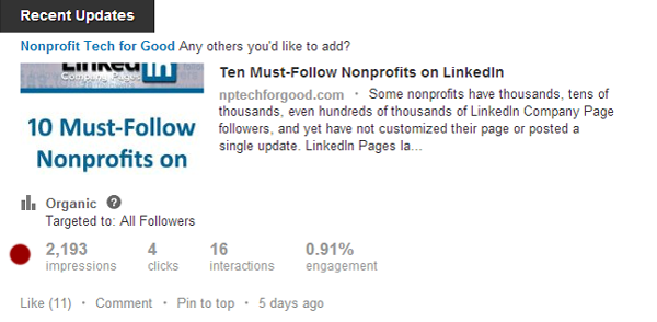 LinkedIn Updates Insights