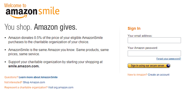 Amazon Smile Sign Up