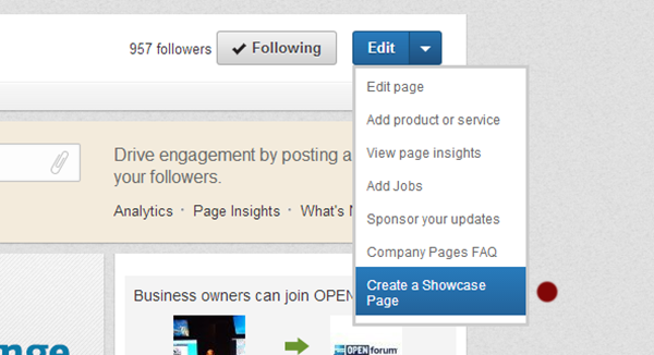 Create a LinkedIn Showcase Page