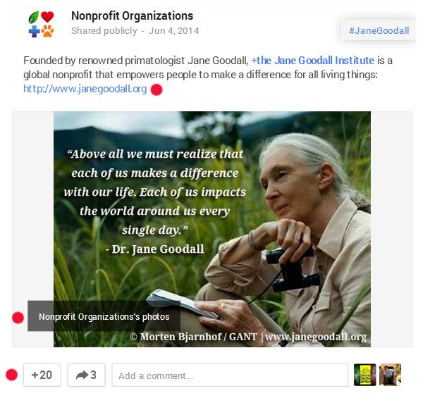 Jane Goodall Google+