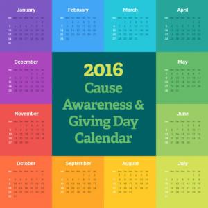 2016 Cause Awareness & Giving Day Calendar