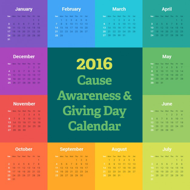 Cause Awareness Giving Day Calendar - Nonprofit communications calendar template